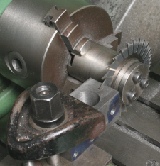 Using a slitting saw on the lathe.