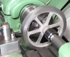 "Flywheel machining Horizontal steam engine, ""Tina"""
